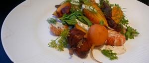 Karotter med dild, karse og krebs